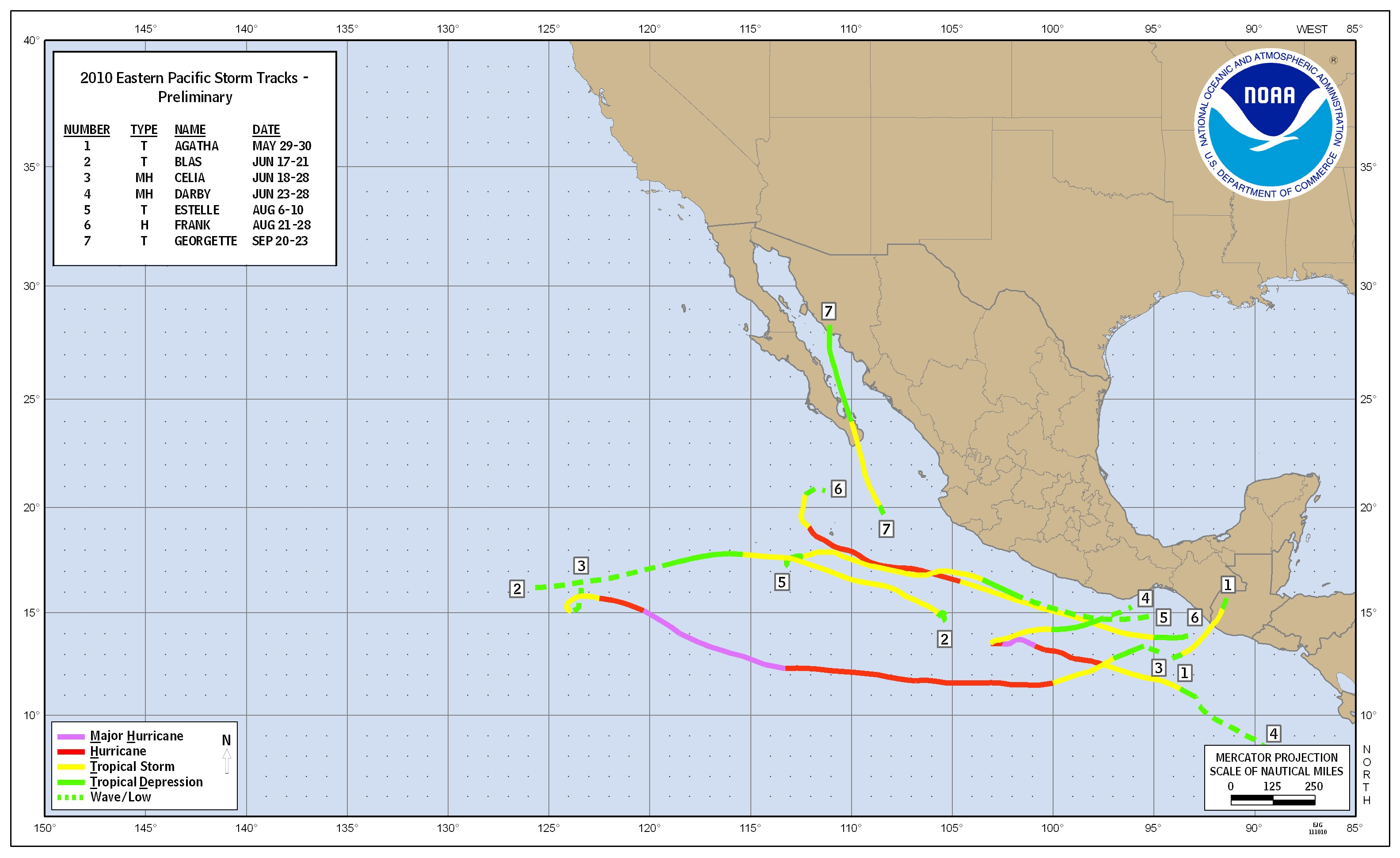 Quiet Hurricane Season Easternpacifictrackmap