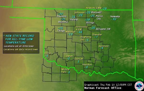 Oklahoma Temperature Records 10 Feb