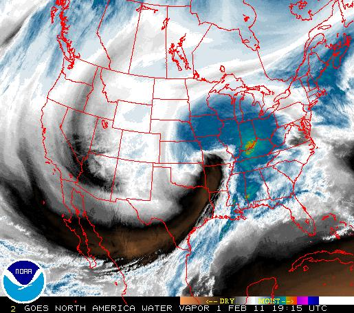 Water Vapor Imagery of 1 February Storm