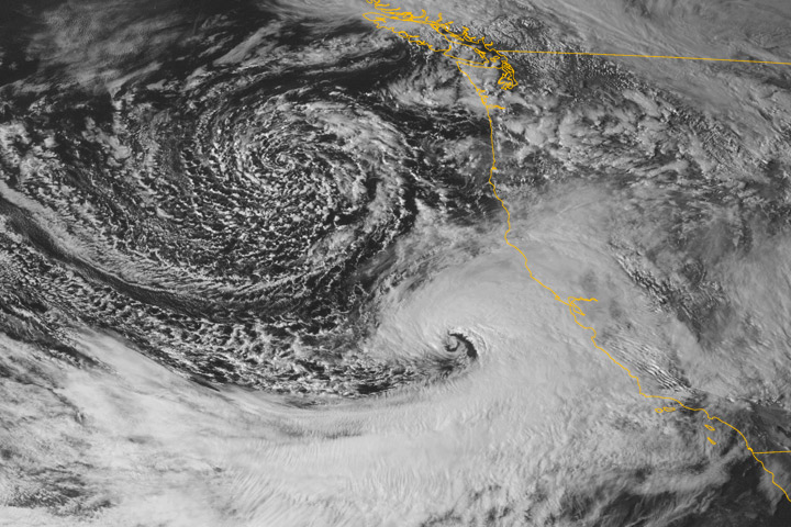 Satellite Image of landfalling storms along U.S. West Coast 20 March