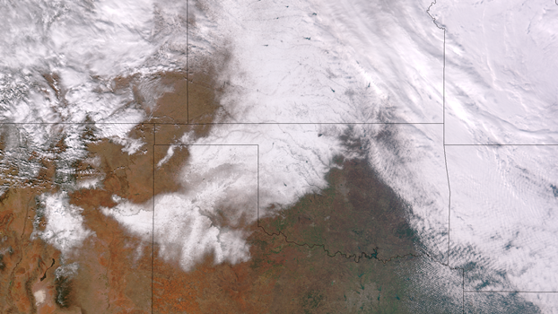 Satellite Image of Southern Plains Snow Cover