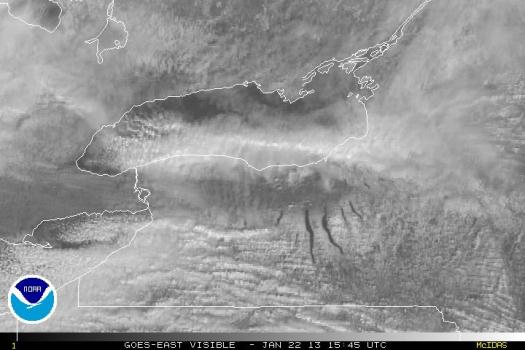 Satellite Image of January 22 Lake Effect Snow Band