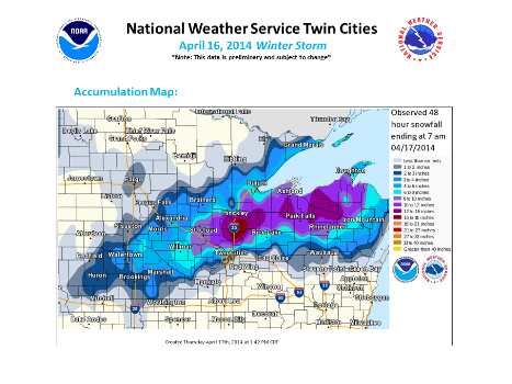 April 16 Snowfall totals