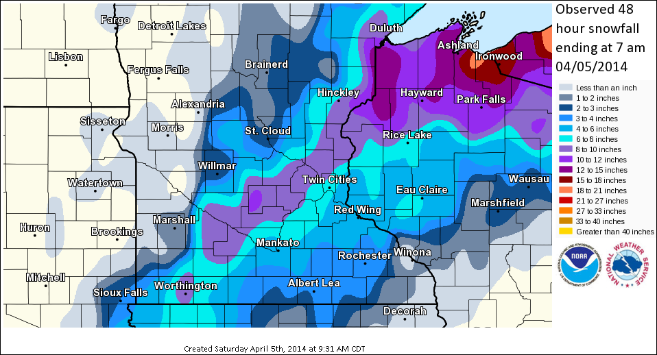 3-4 April Snowfall Totals