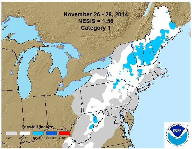 26-28 Nov. Northeast Snowfall