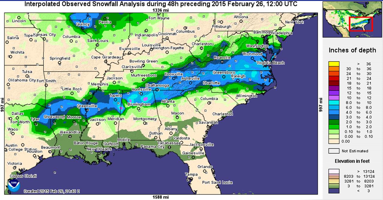 Feb 25-26 Snowfall Totals