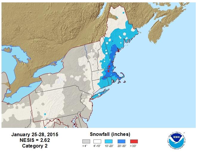 Jan 25-28 Snowfall Totals