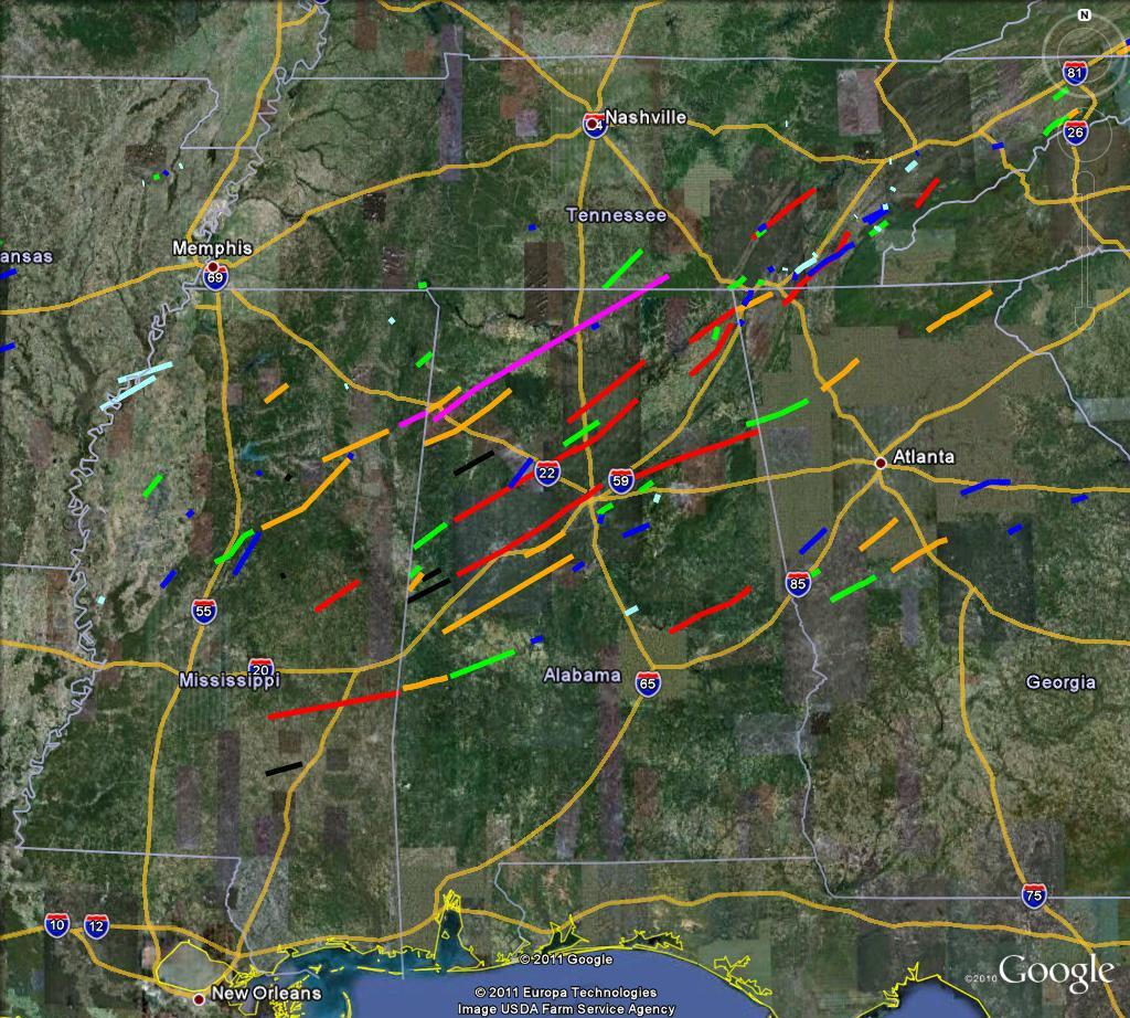 27 April Tornado Tracks