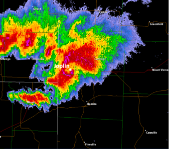 Radar image of Joplin Tornado