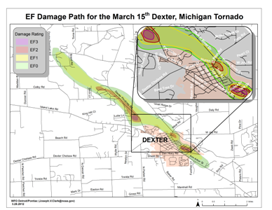 Dexter, Michigan EF3 Tornado Track