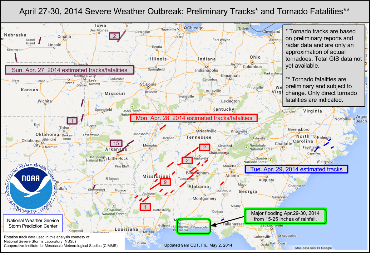 April 27-29 Tornado Tracks and Fatalities