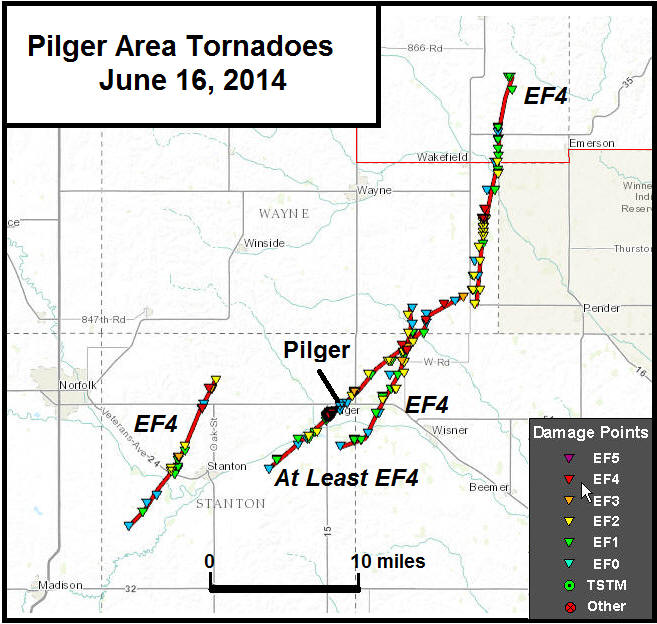 16 June Nebraska tornado tracks