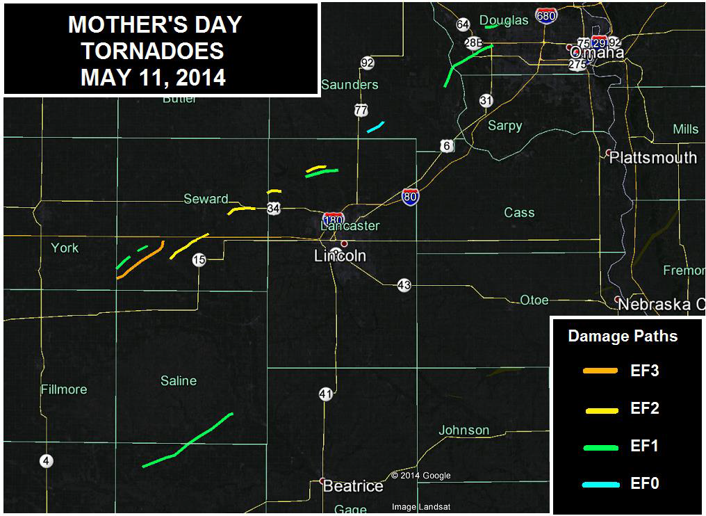 May 11 Tornado Tracks and Fatalities