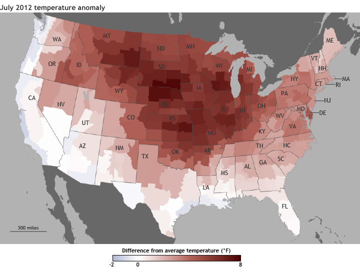 July Divisional Temperature Anomalies