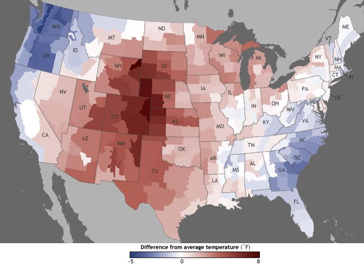 June Divisional Temperature Anomalies