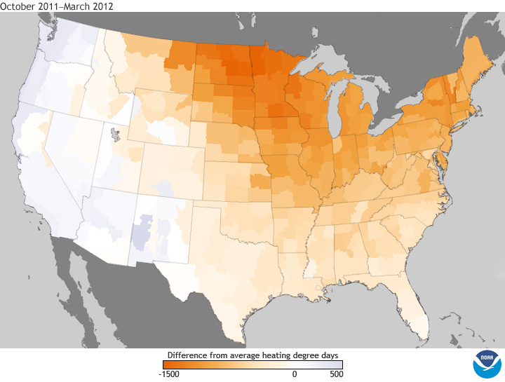 October-March Heating Degree Day Anomalies