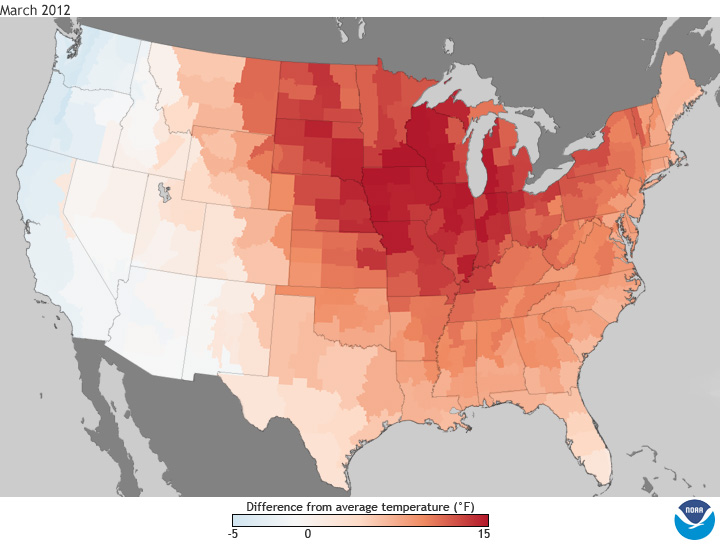 March 2012 Temperature anomalies