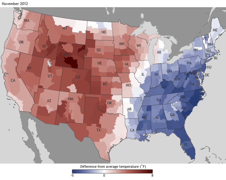 Difference from average temperature, November 2012