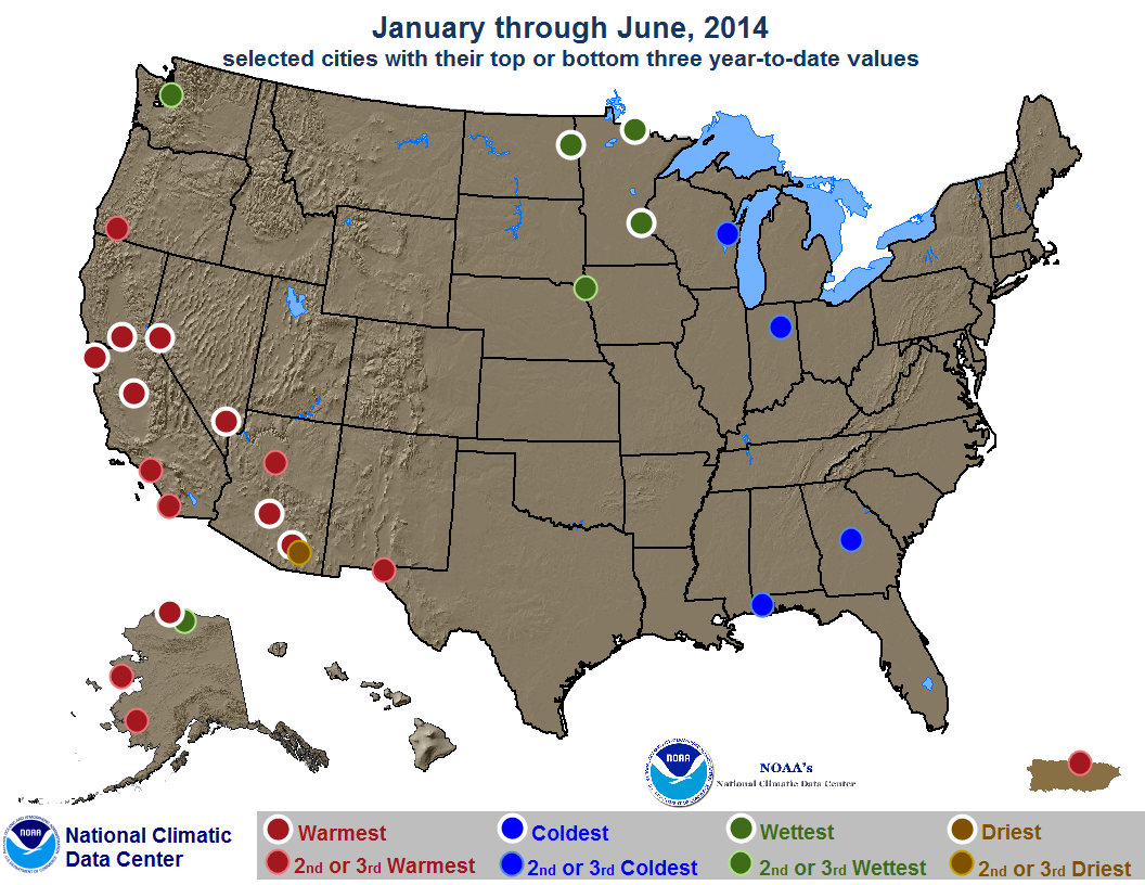 map depicting record or near-record warn, cold, rainy or dry conditions for January through June 2014