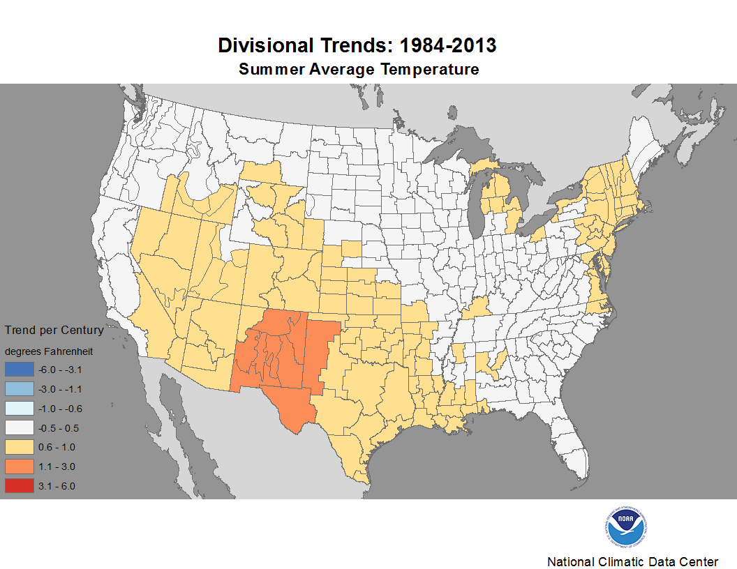 map depicting trends in average temperature for summers during the period 1984-2013