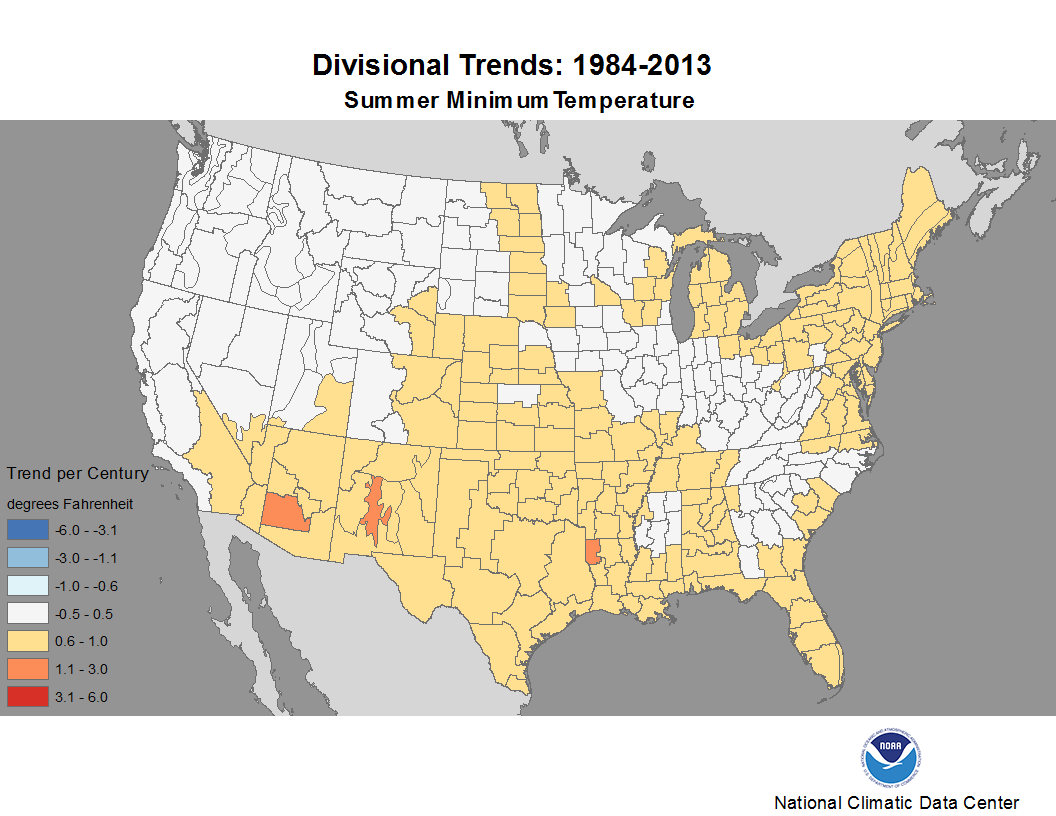 map depicting trends in minimum temperature for summers during the period 1984-2013
