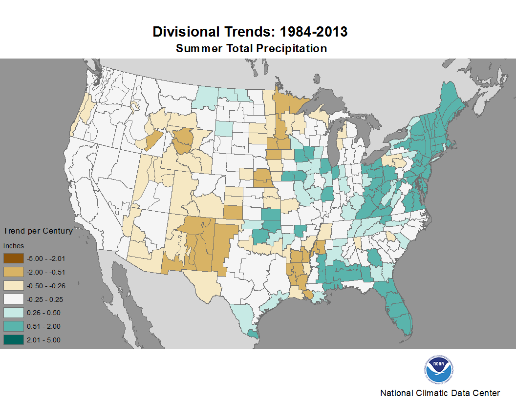 map depicting trends in precipitation for summers during the period 1984-2013