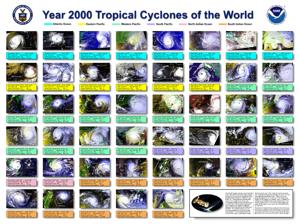 NOAA produced Year 2000 Cyclones of the World poster
