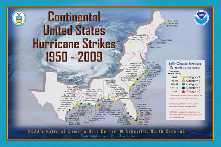 NOAA produced Continental United States Hurricane Strikes poster