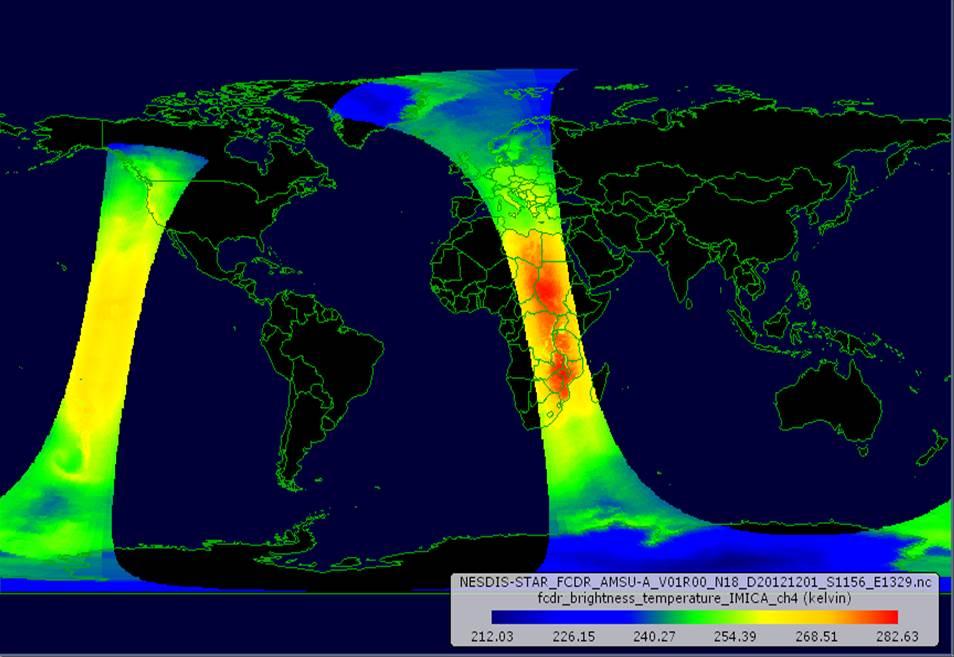 An orbit of AMSU-A Level 1c brightness temperature data from NOAA-18.