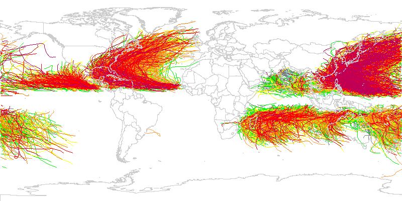 IBTrACS storm tracks for seasons 1947 through 2007.