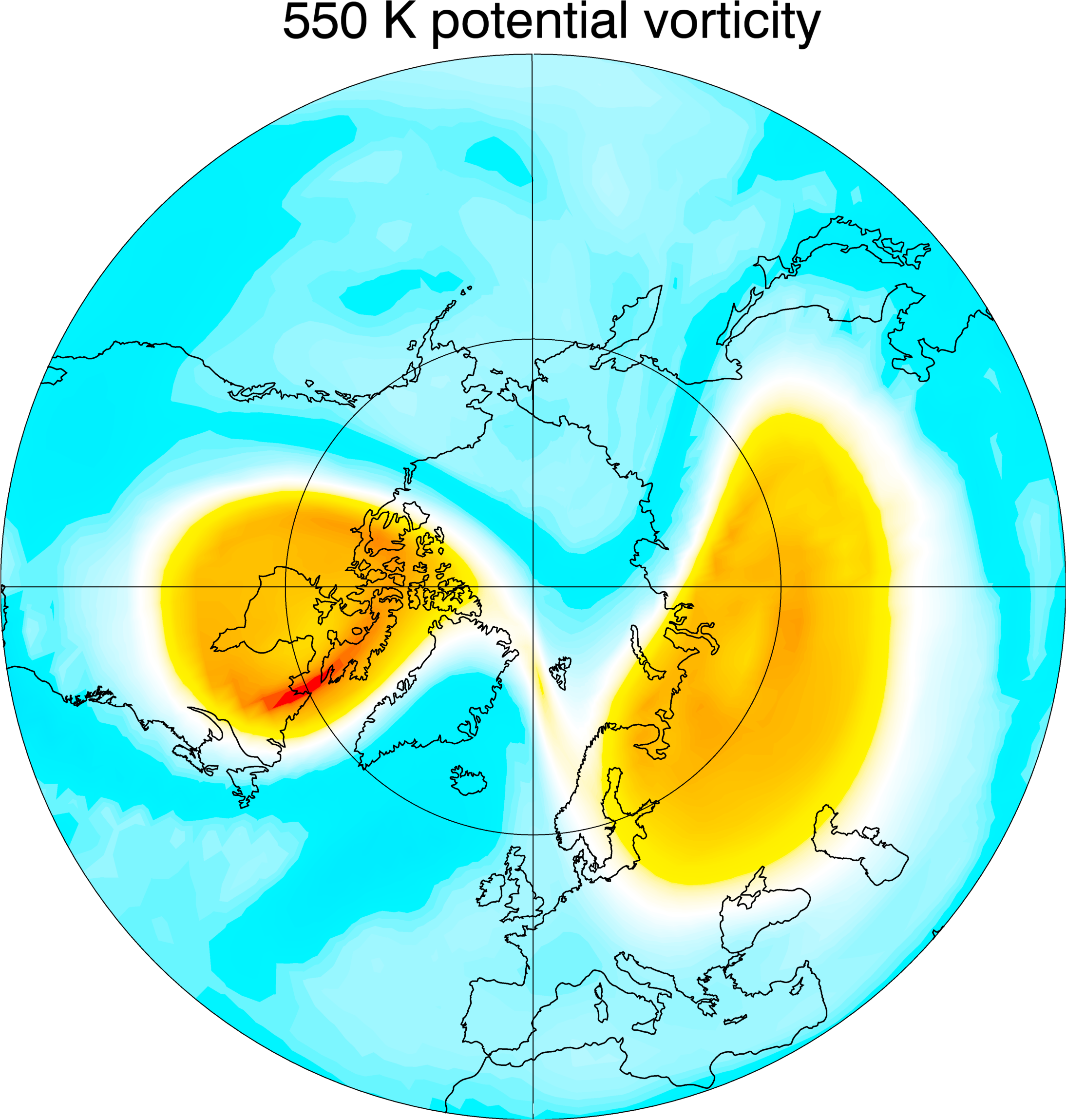 Potential vorticity [-30 to 150 PVU] 3 days after the SSW event of 2009/01/24
