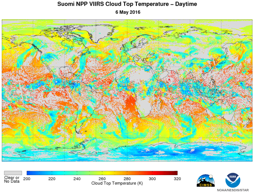 Example of VIIRS global Cloud Top Temperature EDR on May 6, 2016. Image courtesy of JPSS LTM system.