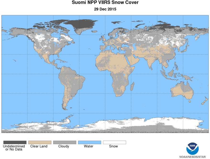 Example of VIIRS Snow Cover depicting global snow cover for December 29, 2015. Image courtesy of JPSS LTM system.