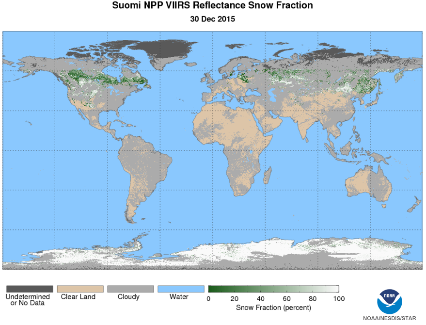 Example of the VIIRS Snow Cover/Depth Snow Fraction EDR depicting global snow cover fraction on December 30, 2015. Image courtesy of the JPSS LTM system.